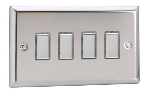 Varilight JCES004 Classic Mirror Chrome 4 Gang Touch Dimming Slave (use with V-Pro Master)